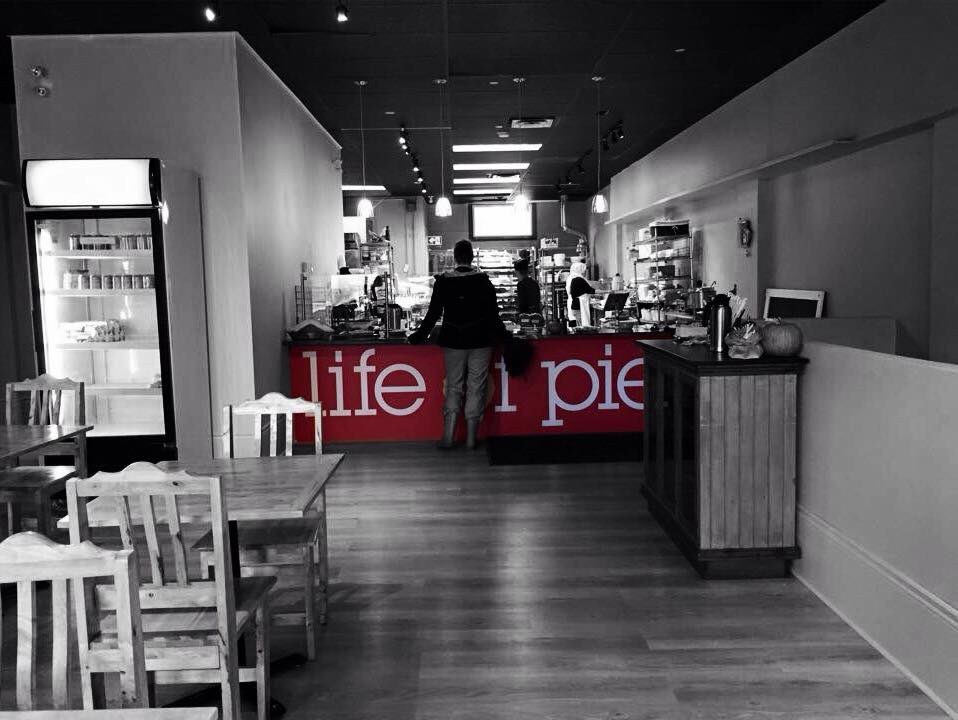 View inside Life of Pie looking from the dining room towards the counter.